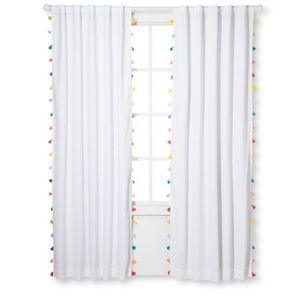 PILLOWFORT Tassel Blackout Curtain Panels - Two